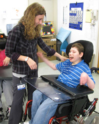 Matheny School student and teacher - Alliance of Special Education Schools of North Jersey member school