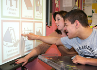 Matheny School student and teacher at SmartBoard - Alliance of Special Education Schools of North Jersey member school