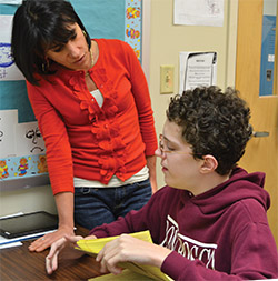 private special education school nj - Middle School student with counselor at The Children's Institute
