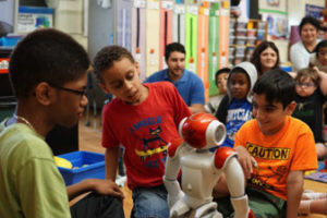 Students working with robots at private special edcuation school in Nutley NJ